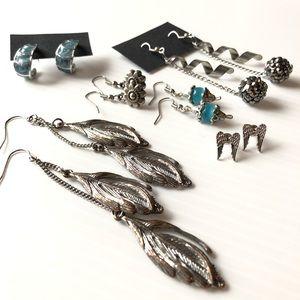 Jewelry - Vintage Earring Lot Silvertone Earring Bundle 6PC